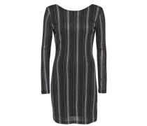 Wickel-Kleid mit langen Ärmeln schwarz / silber