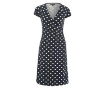 Midi-Kleid 'Cross Dress Partypolka' dunkelblau / weiß