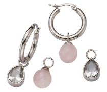 Schmuckset: Creole mit Einhängern Rosenquarz und Kristallsteinen kombinierbar (Set 6tlg.) grau / rosé