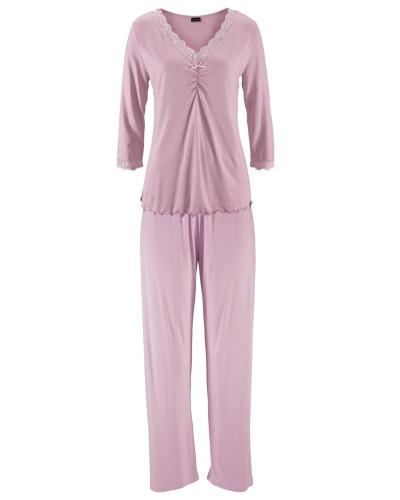 Pyjama mit Raffung & Spitzenkante rosa