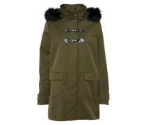 Mantel mit Fake-Fur-Kragen oliv