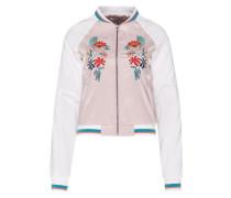 Blouson mit floraler Stickerei pink / weiß