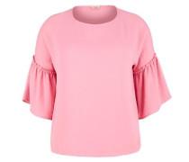 Bluse mit Volantärmeln pink