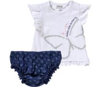 Baby Set T-Shirt mit Flügelärmeln und Windelhöschen dunkelblau / weiß