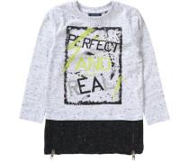 Langarmshirt mit Reißverschlüssen für Jungen kiwi / schwarz / weiß