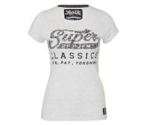 T-Shirt 'Classics Sequin' schwarz / silber / weiß