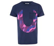 T-Shirt 'camo Horseshoe' enzian / dunkelpink