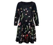 Weit geschnittenes Kleid mit Stickerei mischfarben
