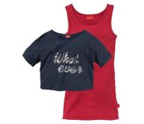 Shirt & Top mit Pailletten (Set 2-tlg.) für Mädchen blau / rot