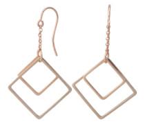 Ohrringe mit Anhänger in quadratischer Form gold