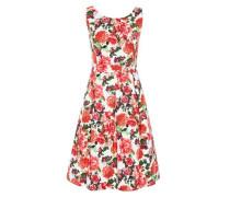 Trägerkleid mit Blumendruck rot / weiß