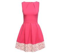 Figurbetontes Kleid mit Spitze pink / weiß