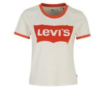 T-Shirt mit Logoprint orangerot / weiß
