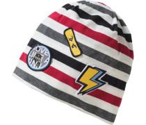 Beanie Ninjago mit Patches für Jungen grau / rot / schwarz / weiß