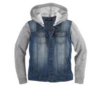 Jeansjacke Mit Sweatärmeln und Kapuze für Jungen blau