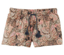 Shorts im Alloverprint mit Bindekordel camel / rosa