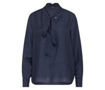 Bluse mit Seidenanteil blau / weiß