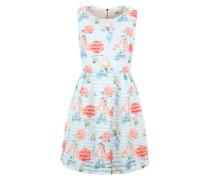 Kleid mit Lochmuster blau