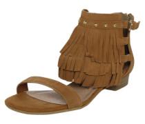 Sandale mit Fransen- und Nietenbesatz braun