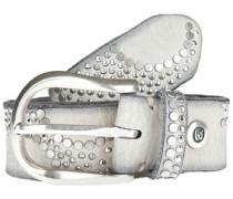 Ledergürtel mit aufwändigem Nietenbesatz grau / silber / weiß