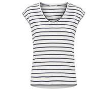 T-Shirt 'Onlsannie' dunkelblau / offwhite