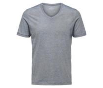 T-Shirt V-Ausschnitt dunkelblau / naturweiß