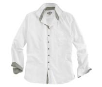 Trachtenhemd mit grünen Ziersteppnähten grün / weiß