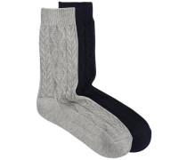 Gestrickte Socken blau / grau