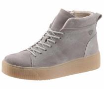 Sneaker aus Veloursleder hellgrau