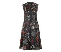 Kurzes Kleid mit Stehkragen schwarz