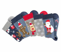 Socken mit weihnachtlichen Motiven und ABS Sohle mischfarben