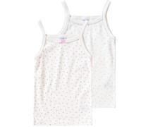 Doppelpack Unterhemden für Mädchen hellblau / rosa / weiß