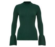 Rippstrick-Pullover mit Volant-Ärmeln grün