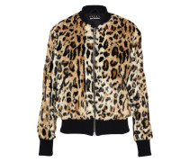 Jacke in Animalprint beige