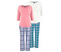 Pyjamas (2 Stück) aqua / hellblau / dunkelblau / lachs / rosa / weiß