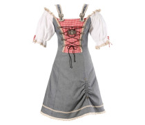 Trachtenkleid in Jeansoptik grau / rot / weiß