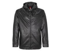 Wattierte Jacke im Leder-Look schwarz