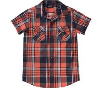 Kinder Hemd für Jungen dunkelblau / orange / weiß