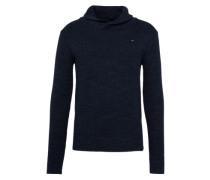 Pullover mit Schalkragen dunkelblau