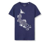 T-Shirt mit Print navy / weiß