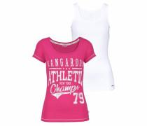 Print-Shirt (Set 2 tlg. mit Top) pink / weiß