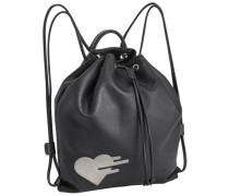 Rucksack mit Herz-Patch grau / schwarz