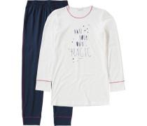 Schlafanzug für Mädchen navy / weiß