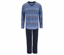 Pyjama lang mit garngefärbten Streifen dunkelblau / grau