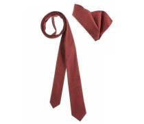 Krawatte (Set mit Einstecktuch) rostrot
