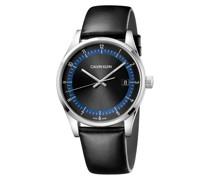 Uhr schwarz / silber / dunkelblau