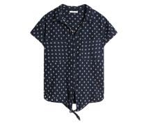 Bluse mit geometrischem Muster navy