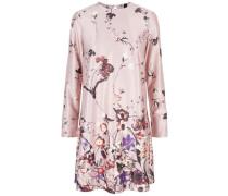 Blumen-Satin-Kleid mischfarben / rosa