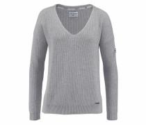 V-Ausschnitt-Pullover hellgrau