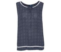 Gemustertes Blusen-Top dunkelblau / naturweiß